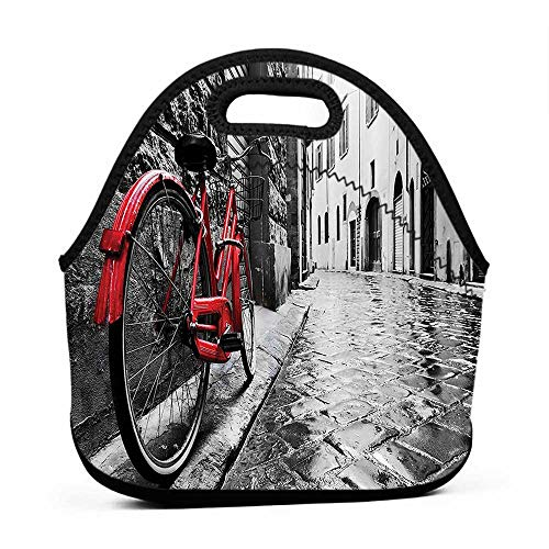 Rugged Lunchbox Bicycle Decor,Classic Bike on Cobblestone Street in Italian Town Leisure Charm Artistic Photo,Red Black and White,nike lunch bag for girls