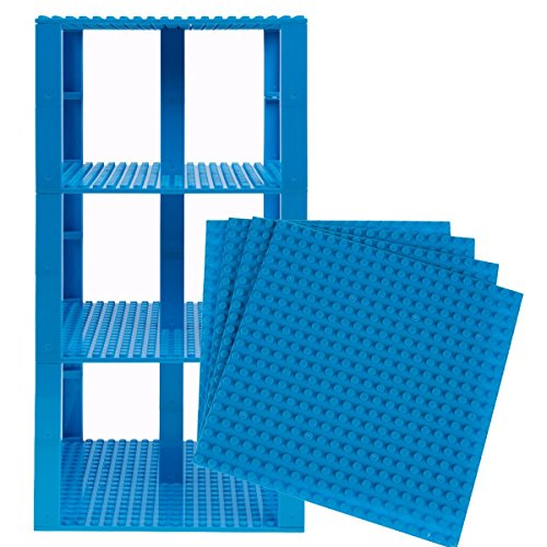 Strictly Briks Classic Baseplates 6 x 6 Brik Tower 100% Compatible with All Major Brands   Building Bricks for Towers and More   4 Robins Egg Blue Stackable Base Plates & 30 Stackers