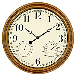 45Min 16-Inch Indoor/Outdoor Retro Wall Clock Thermometer Hygrometer, Silent Non-Ticking Round Wall Clock Home Decor Arabic Numerals
