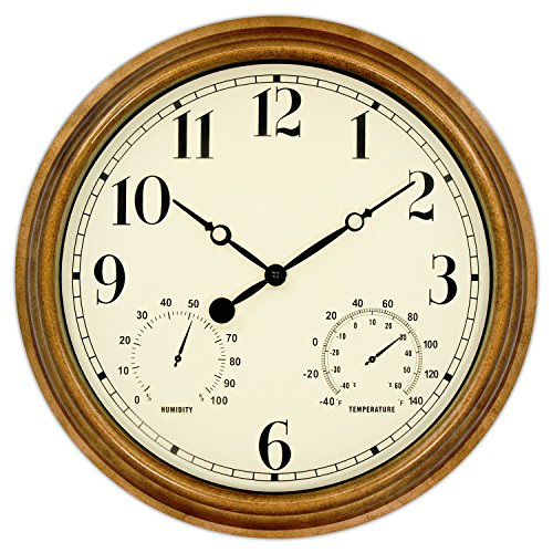 45Min 16-inch Indoor/Outdoor Retro Wall Clock with Thermometer and Hygrometer, Silent Non-Ticking Round Wall Clock Home Decor with Arabic (Outdoor Plastic Wall)