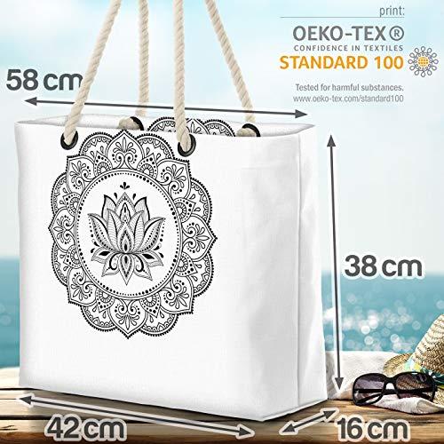 VOID Mandala Lotus blomma strandväska Shopper 58 x 38 x 16 cm 23 L XXL shoppingväska väska resväska Beach Bag