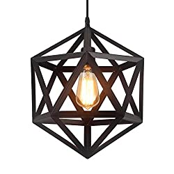 Homiforce Vintage Style 1 Light Black Geometric Pendant Light With Metal Shade In Matte Black Finish Modern Industrial Edison Style Hanging For Kitchen Island Close To Ceiling Olbers Black