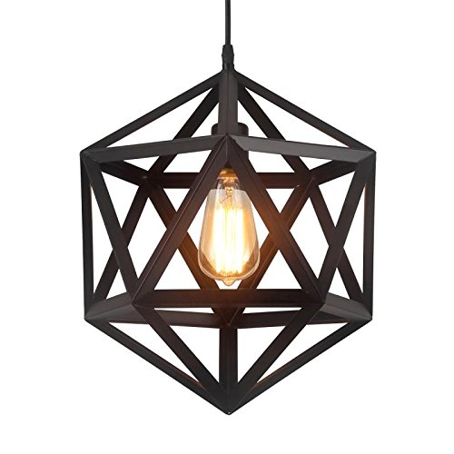 HOMIFORCE Vintage Style 1 Light Black Geometric Pendant Light with Metal Shade in Matte-Black Finish-Modern Industrial Edison Style Hanging for Kitchen Island,Close to Ceiling (Olbers Black) by HOMIFORCE