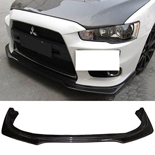 Front Bumper Lip Fits 2008-2015 Mitsubishi Lancer Evolution EVO X 10 | RA Style Front Lip Protector Splitter Carbon Fiber CF by IKON MOTORSPORTS | 2009 2010 2011 2012 2013 2014