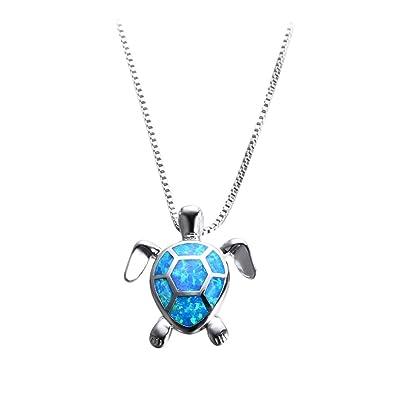 7183630ec5ded Blue Turtle Pendant Women s 925 Sterling Silver Blue Sea Turtle Stretching  Pendant Necklace 18 quot  Turtle