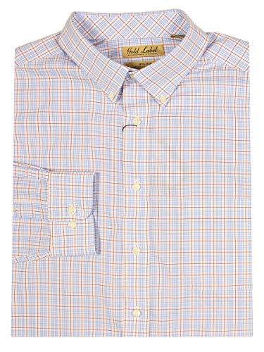 - Gold Label Roundtree & Yorke Non-Iron Wrinkle-Free Men's Big Tall Dress Shirt (2XT, White-Lt Blu-Red)