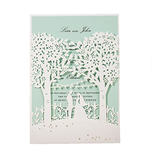 [I Loved You First]WISHMADE 50X White Laser Cut Bride and Groom Tree Wedding Invites Printable Invitation Kit with Mint Insert and Envelope -