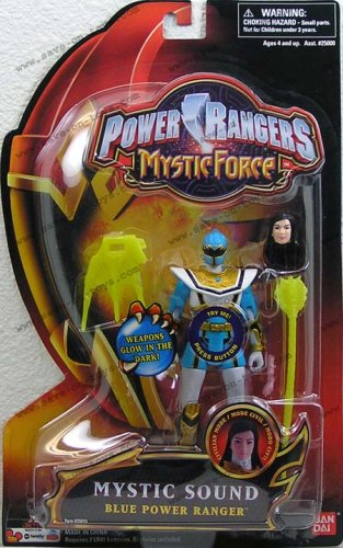 Power Rangers Mystic Force Mystic Sound 6 Inch Tall Action Figure - Blue Power Ranger with Weapons That Glow in the Dark -