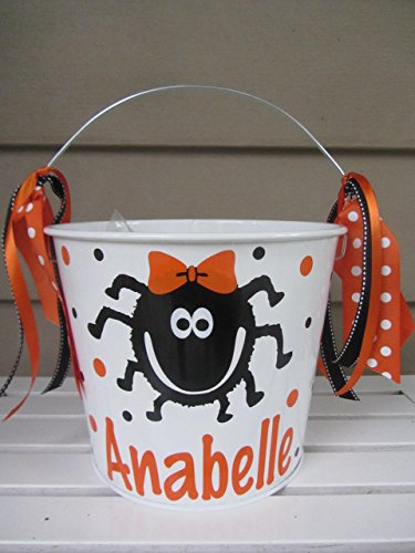 Personalized 5 quart Halloween pail- spider design -