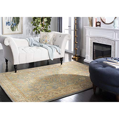 Safavieh Antiquities Collection AT314A Handmade Traditional Oriental Blue and Ivory Wool Area Rug (3' x 5')