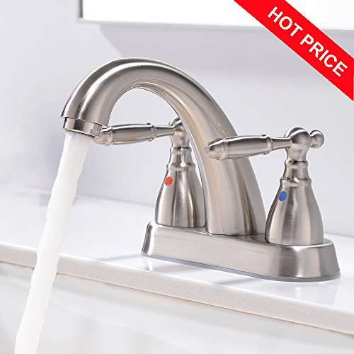 Friho Modern Commercial Lead-Free Two Handle Lavatory Vanity Bathroom Sink Faucet,Brushed Nickel Bathroom Faucets (Iron Pipe Straight Valve)