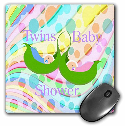 3dRose Florene - Special Events - Print of Boy and Girl Twins in Peapod On Colorful Background - Mousepad (mp_212870_1)