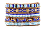 Blue and Gold Mix Wrap Bracelet Natural Brown Leather 5 Layers Seed Beads Fashion Jewelry
