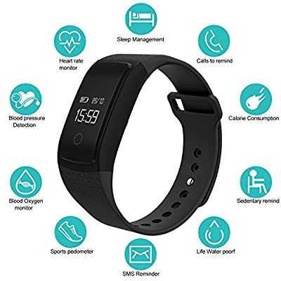 LogHog Fitness Tracker,IP67 Waterproof Sports Smart Wristband with Blood Oxygen Monitor/Blood Pressure/Heart Rate Monitor for Android Phone and IOS IPhone