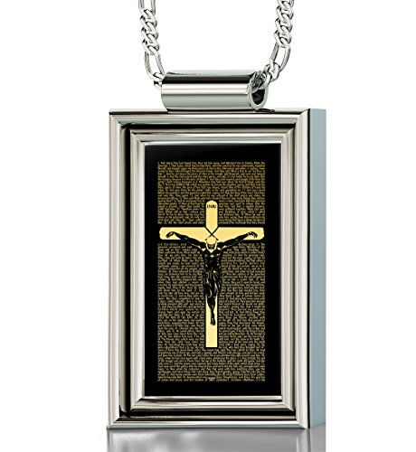 925 Sterling Silver Crucifix Necklace for Men with Matthew 27 Inscribed in 24k Gold onto a Black Onyx Christian Pendant, 20'' by Nano Jewelry