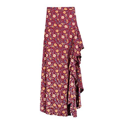 SuperLouisa Fashion marca saias frias boho estilo floral impresso tornozelo-comprimento saias longas saias de babados saia vintage clssico pano