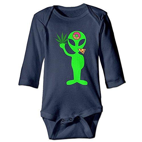 TREEWw Alien Donut Pot Leaf Weed Pizza Baby Boys Girls Long Sleeve Bodysuits Romper 6 M