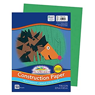 "SunWorks Construction Paper, Holiday Green, 9"" x 12"", 50 Sheets"
