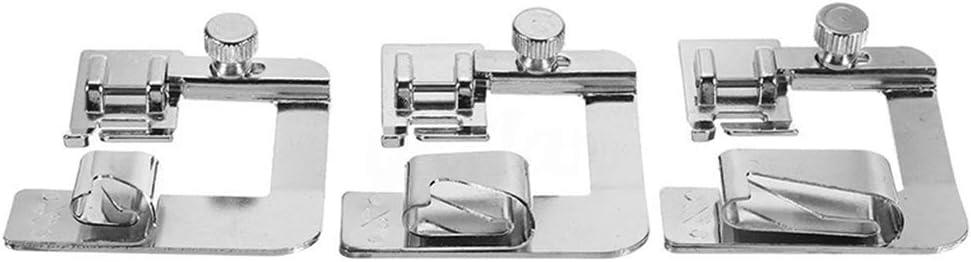 Dayertiy 3pcs / Set del pie Dobladillo de presión de reemplazo Máquina de Coser prensatelas para Brother Adaptador de Culata Cantante/Baja