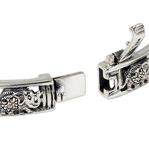 Siam Sterling Bracelet (NOVICA Marcasite .925 Sterling Silver Bangle Bracelet, 7.75