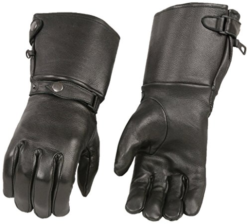 (Milwaukee Leather Men's Long Cuff Deer Skin Gloves (Black, Large))