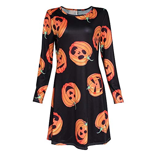 Xinantime Womens Halloween Dress Halloween Pumpkin Print Long Sleeve Party Swing Mini Dress Black