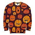 FEDULK Unisex Plus Size Halloween Blouse 3D Slouchy Pumpkin Print Long Sleeve Crew Neck Blouse Shirt Tops