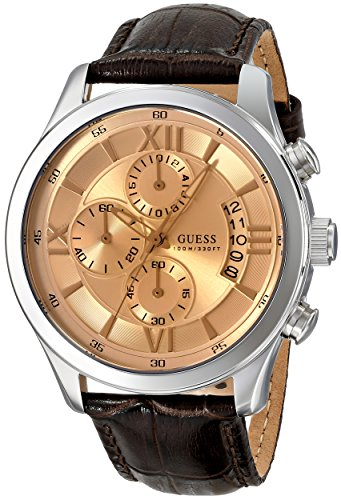 GUESS Men's U0192G1 Brown Classic Crocodile-Grained Leather Strap Chronograph Watch