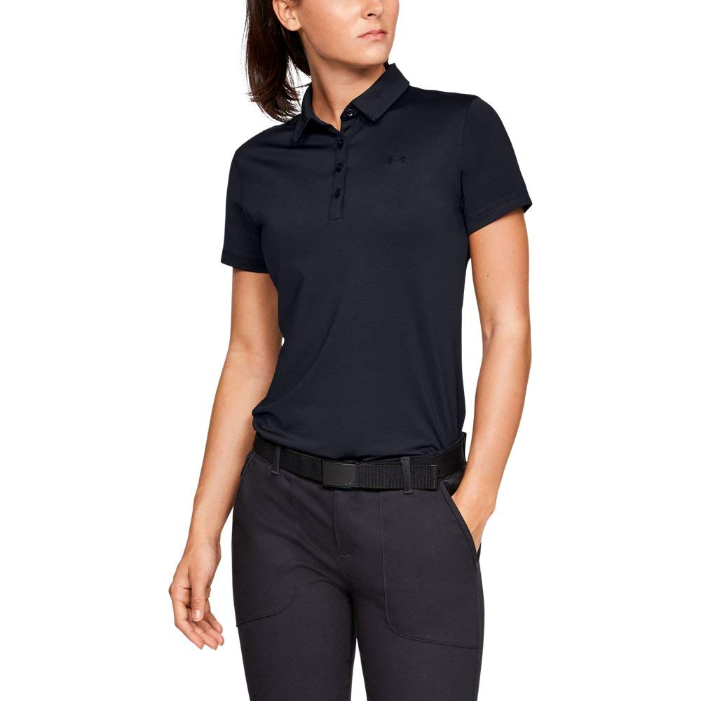 Under Armour Womens Zinger Short Sleeve Golf Polo, Black (001)/Black, X-Small