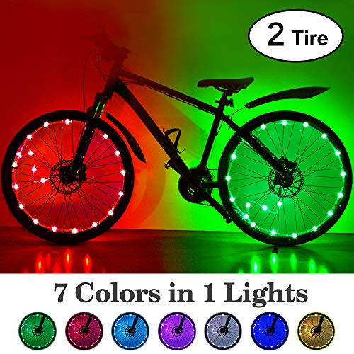 HOOMIL LED Bike Wheel Lights with Batteries 7 Colors in 1 Light Waterproof RGBW LED Bicycle Wheel Lights Ultra Bright Tire Spoke Light Bike Decorations Lights for Wheels (2-Tire Pack)
