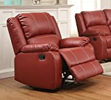 Acme Furniture ACME Zuriel Red Faux Leather Rocker Recliner For Sale
