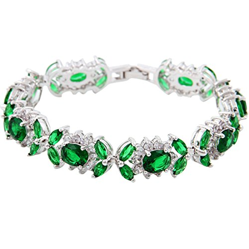 Or blanc GP Tennis ovale Marquise rond Vert CZ Mariage Bracelet
