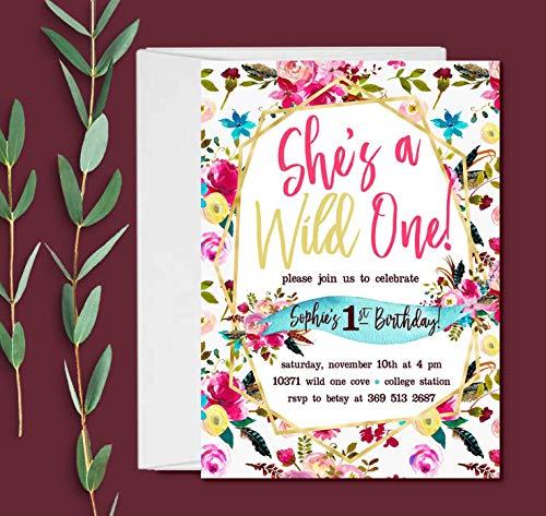 Set of 10 Wild One Birthday Invitations Girl, 1st Birthday Invitations -