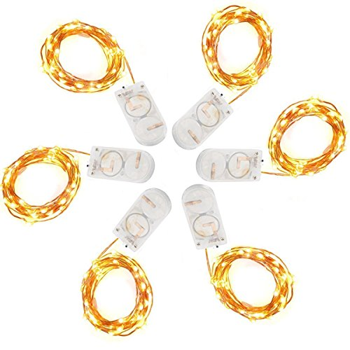 Pack of 6 Pcs Fairy Lights Battery Operated String Lights with 20 Micro LEDs 7.2ft Firefly Lights Copper Wire LED Lights Starry String Lights for Christmas Party Centerpiece Decor Warm White