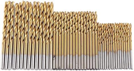 98pcs Titanium Coated Spiralbohrer Schnellarbeitsstahl Zylinderschaft Spiralbohrer Set 1,5mm-10mm