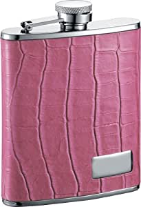 Visol Splendid Pink Leather Stainless Steel Hip Flask, 6-Ounce