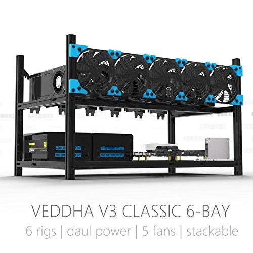 Aluminum GPU Mining Case Rig Open Air Frame For ETH/ETC/ ZCash (6 GPU) (Rig Blue)