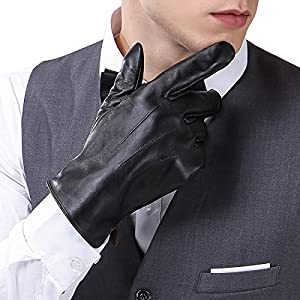 Mens Touchscreen Texting Genuine Nappa Leather Gloves Winter Driving Warm Lined Gloves