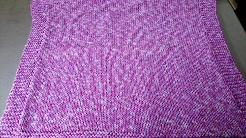 (Hand Knitted Double Strand Baby Afghan in Pink Multi)