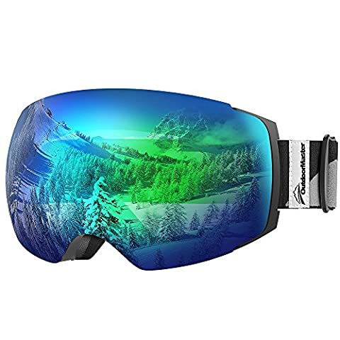 OutdoorMaster Ski Goggles PRO - Frameless, Interchangeable Lens Snow Goggles for Men & Women - 100% UV Protection ( Black Frame VLT 18% Grey Len with Full REVO Green and Free Protective Case )