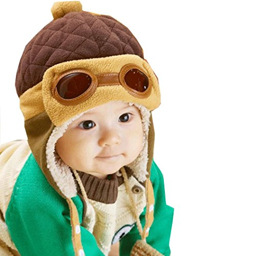 Beanie Pilot Cap , Misaly New Boys Winter Warm Hat Crochet Earflap Hats (Coffee) (Free Crochet Baby Layettes)