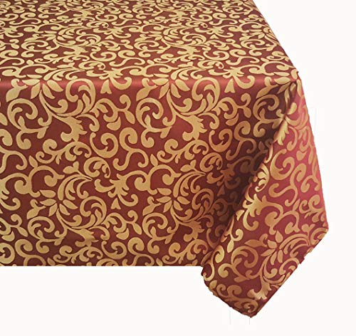 TEKTRUM 70 X 120 INCH 70X120 RECTANGULAR POLYESTER DAMASK TABLECLOTH - THICK/HEAVY DUTY/DURABLE FABRIC (Burgundy)