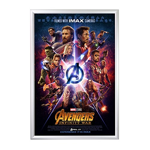 "SnapeZo Movie Poster Frame 27x40 Inches, Silver 1.2"" Aluminu"