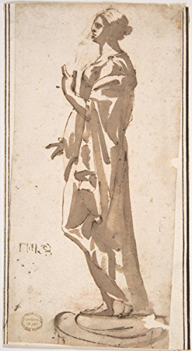 historic pictoric Drawing Statue of a Draped Female Figure | Artist: Anonymous, Italian, 17th century| Created: 17th century | Antique Vintage Fine Art Poster Print Reproduction