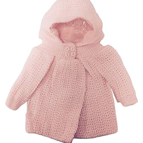 Baby Dove knited (Popcorn Style) Crocheted Sweater jacket with hood, 6-9 Months, Pink