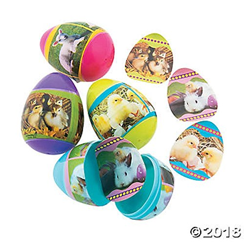 Baby Animal Sticker-Filled Plastic Easter Eggs 2 Dozen
