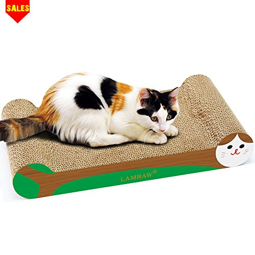 LAMBAW Cat Scratcher Cardboard 16.54 inches Cardboard Cat Scratcher Scratching Post Both Sides Used - Protect Furniture Keep Cat Claws Healthy - Bone Shape Wooden (Scratching Cat Post Wicker)