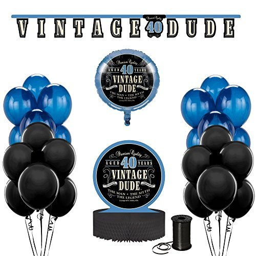 Vintage Dude 40th Birthday Party Decoration Bundle! 40th Birthday Celebration Decor Bundle Includes - Jointed Banner, Honeycomb Centerpiece, Balloons and Curling (40th Birthday Party Decor)