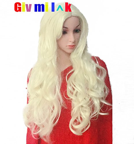 Givmiluck Halloween Cosplay White Blonde Wig with Side Bangs Platinum Blonde Cheap Wigs for Women 24 inches Long Wavy Synthetic Wigs under 10 Costume Wigs Free Choker (Platinum (No Budget Halloween Costumes)
