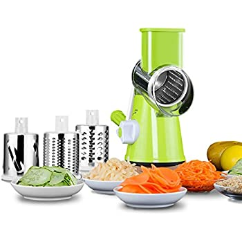 Mandoline Slicer, TAPCET Tri-Blade Spiralizer Vegetable Slicer, Manual Hand Speedy Safe Vegetables Chopper with 3 Interchangeable Round Stainless Steel Rotary Blades and Suction Cup Feet (Green)